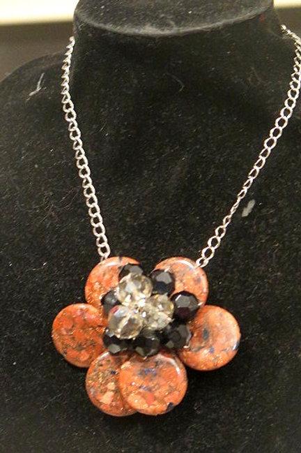 """Florette"" Brown Black Flower Necklace"
