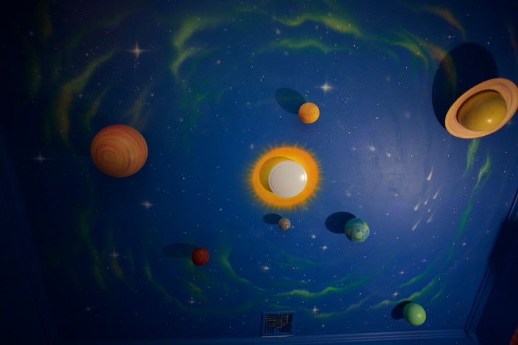 Airbrushed ceiling