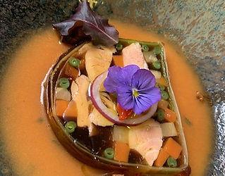La pressé de saumon aux petits légumes g