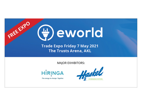 Hiringa and Haskel team up at eworld to showcase plans for NZ's green hydrogen refuelling network.