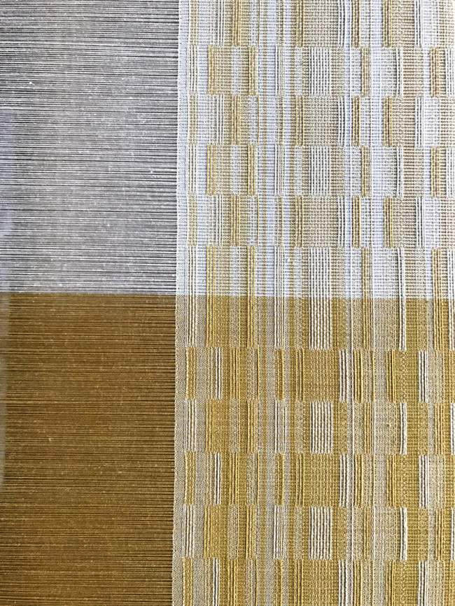 Organic cotton dyed with marigold and osage as warp and weft, summer/winter variant