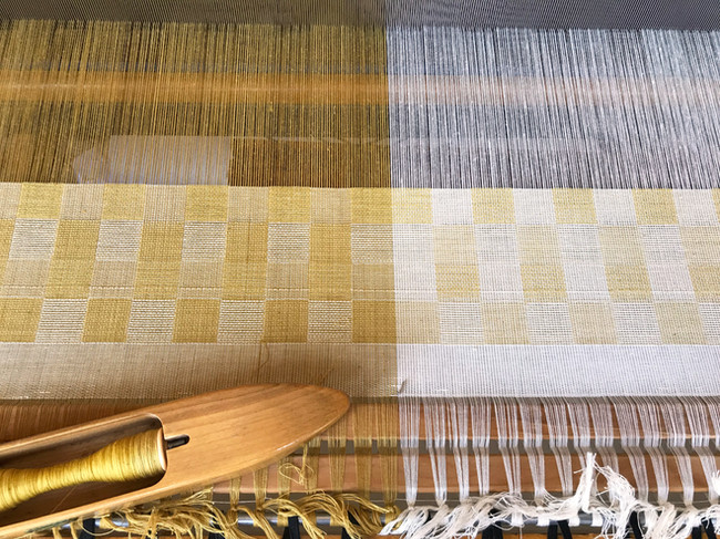Organic cotton dyed with marigold and osage as warp and weft, summer/winter