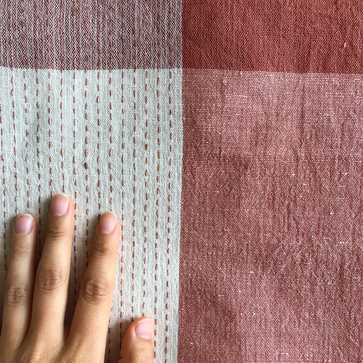 Shifu (paper cloth), cotton warp, paper weft and supplemental warp, dyed with madder and cutch