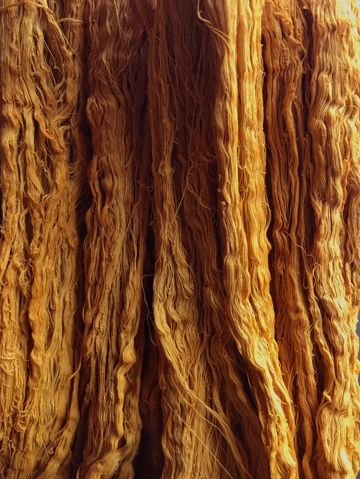 Organic cotton threads dyed with osage and marigold