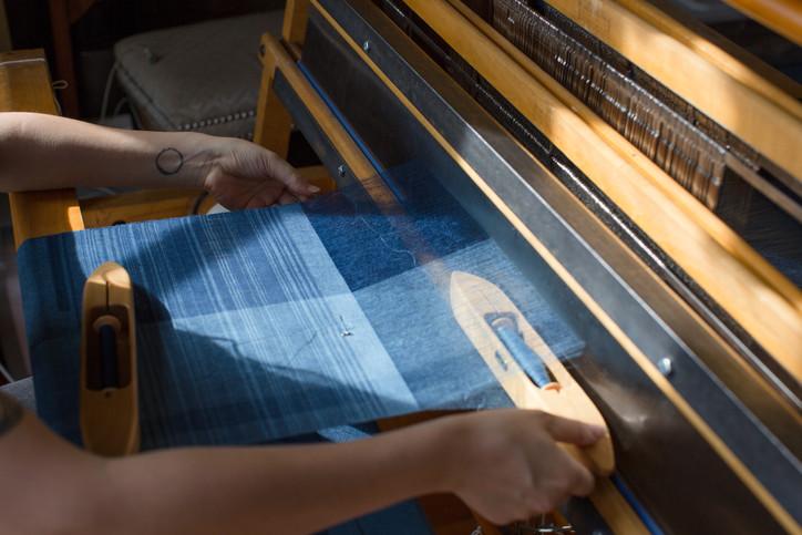 Gossamer linen dyed with indigo, as warp and weft, twill