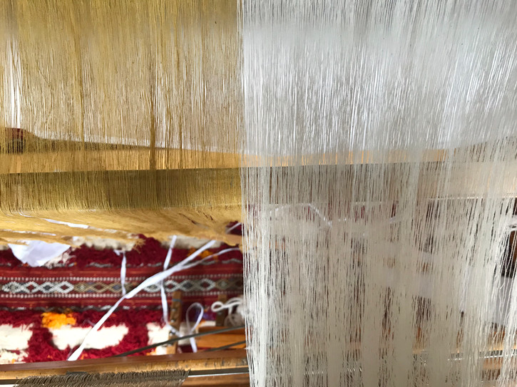 Organic cotton warp threads, undyed and dyed with osage and marigold, setting up on loom