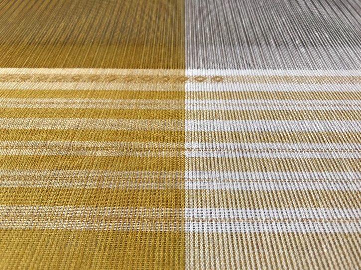 Organic cotton dyed with marigold and osage, as warp and weft, supplemental paper thread weft