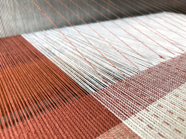Shifu (paper cloth) being woven. Cotton warp, paper weft and supplemental warp, hand dyed with madder and cutch