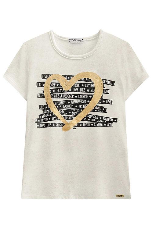 Camiseta Coração Dourado