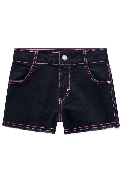 Short Black Jeans e Costura Rosa