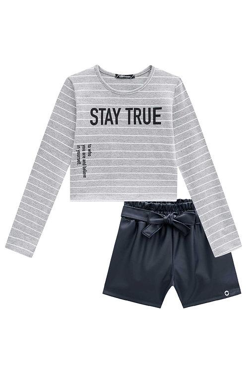 Conjunto Stay True com Short De Couro Eco