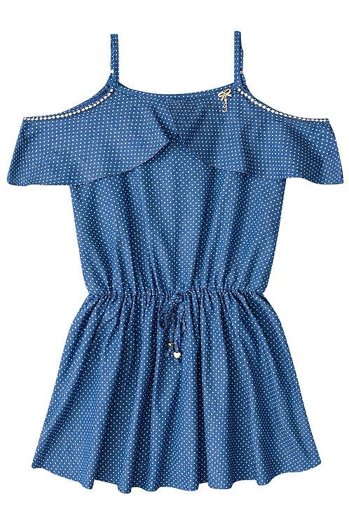 Vestido de Poá Azul