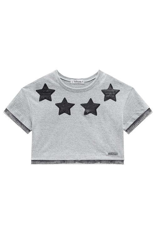 Cropped Star Preta e Cinza