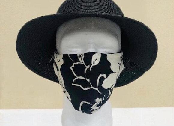 Black Floral Face Mask - Item#JM02F3