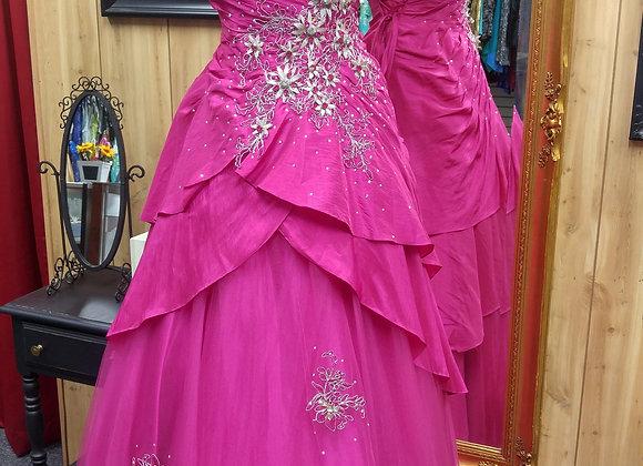 Floral Fucia Quincenera Gown