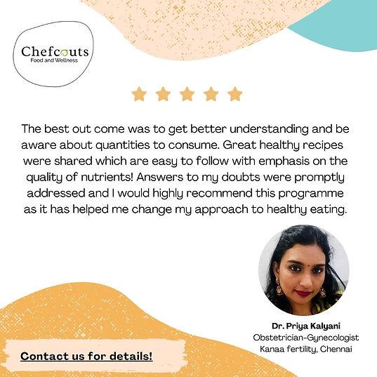 Chefcouts Testimonials - Dr. Priya, Chen