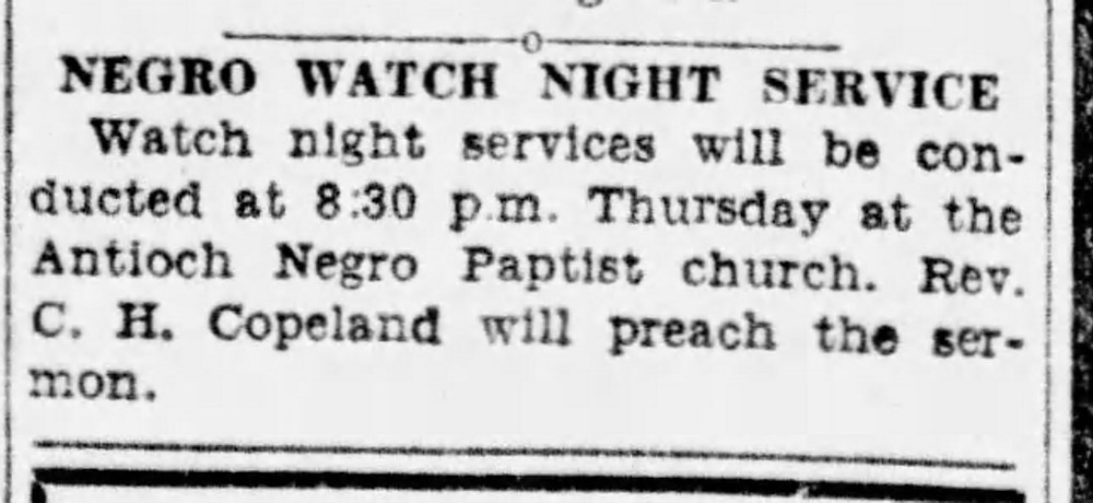 Article that says Negro Watch Night Service
