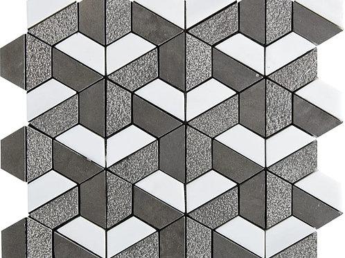 Bosphorus & Snow White 3D Hexagon Textured Marble