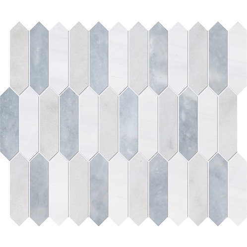 Avalon, Snow White, Allure Honed Baby Picket Marble Waterjet Decos