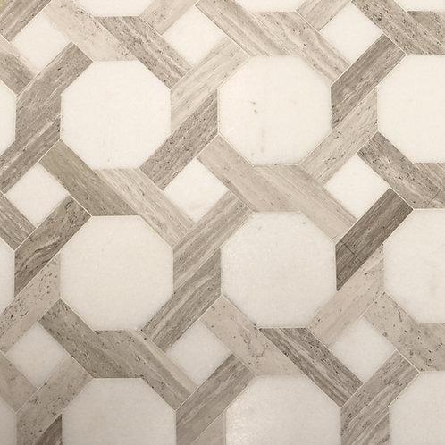La Vita Pattern (White Thassos, White Wood Bars)