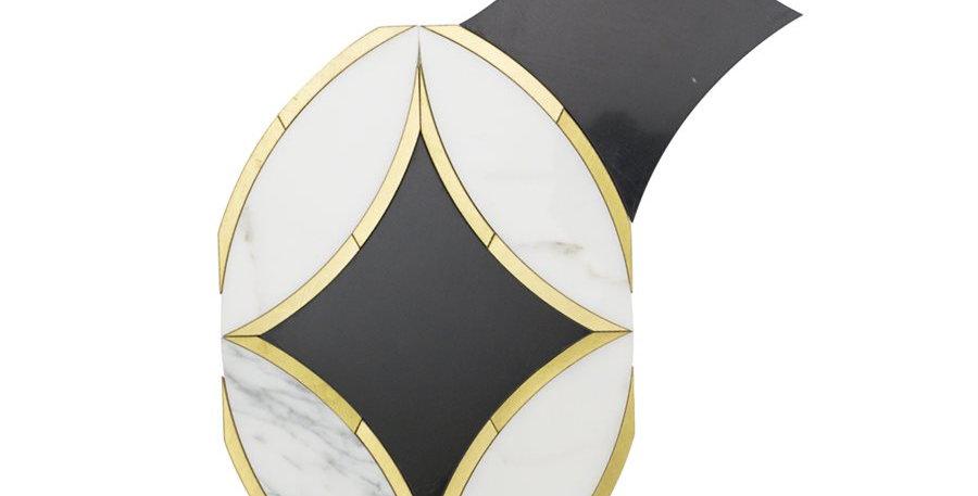 Kaleidoscope Oblique (Calacatta, Nero Marquina, Brass)