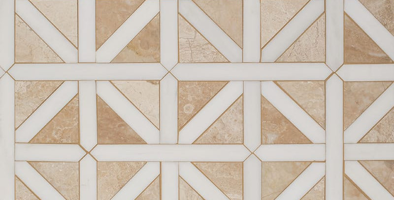 Diana Royal, Snow White Honed Classic Lattice Marble Mosaics