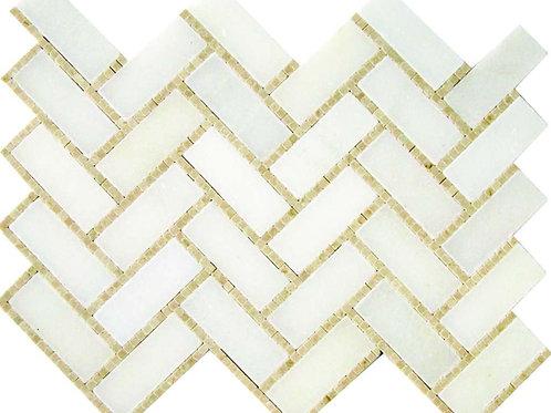 Herringbone Micromosaics (East White, Crema Marfil)