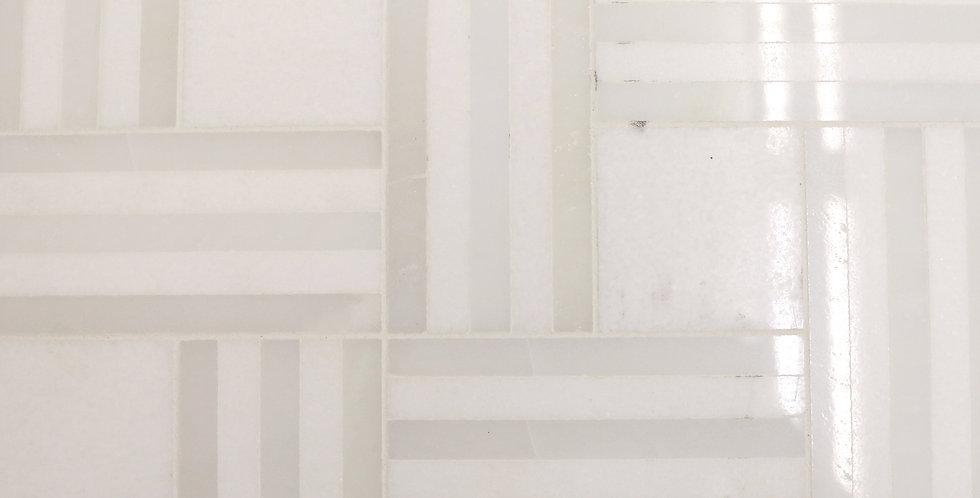 Remy Stripe (White Thassos, White Silk Marble)