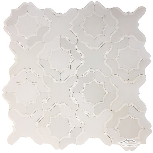 WJ5 Gardenia Waterjet: White Silk, White Thassos