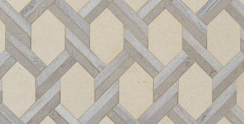 Champagne, Skyline, Britannia Multi Finish Braided Hexagon Marble Mosaics