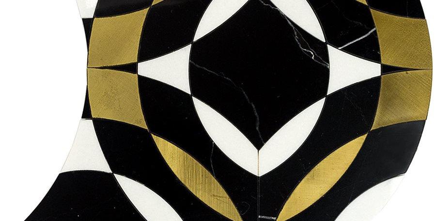 Kaleidoscope Mystique (Nero Marquina, White Thassos, Brass)