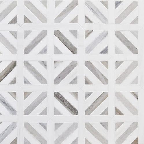 Skyline, Snow White Honed Ponte Basket Marble Mosaics