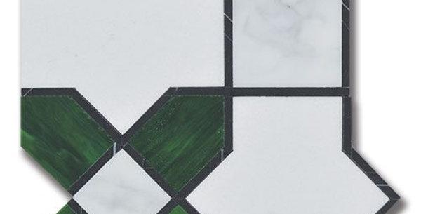 Essence Legacy Emerald Thassos w/ Emrelad Art Glass & Calacatta