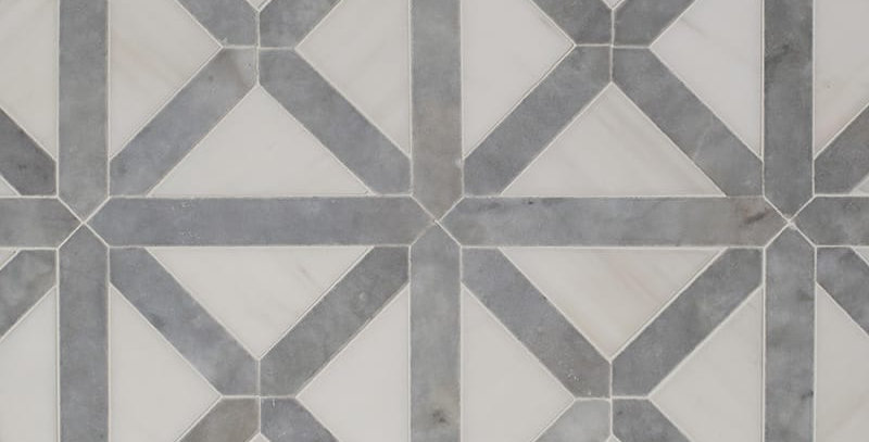 Avenza, Snow White Honed Large Lattice Marble Mosaics