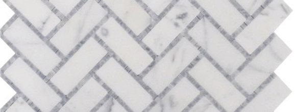 Herringbone Micromosaics (Italian Carrara, Mugwort Gray)