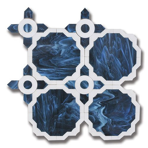 Essence Whimsy Sapphire Art Glass with Calacatta