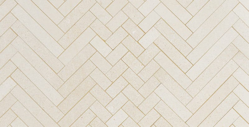 Champagne Honed Mixed Herringbone Marble Mosaics
