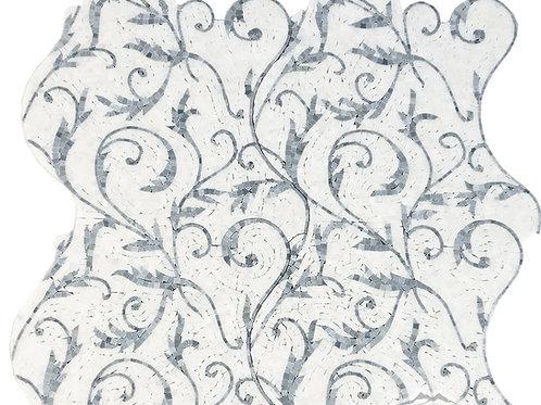Floral 2: (White Silk Marble, Blue Saveh)