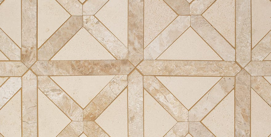 Champagne, Diana Royal Honed Large Lattice Marble Mosaics