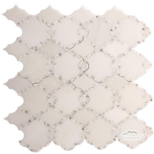 WJ3 Pardis Waterjet: White Silk, White Statuary Calacatta