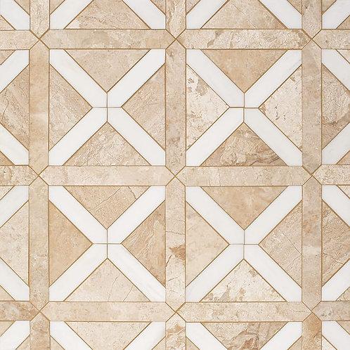 Diana Royal, Snow White Honed Large Lattice Marble Mosaics