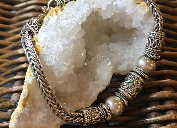 Solid Silver plaited bracelet