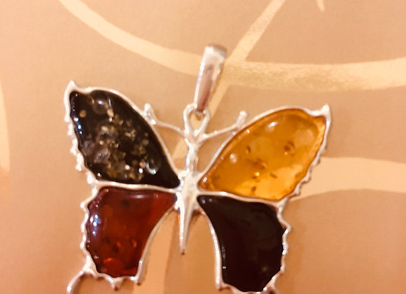 Amber Butterfly Pendant