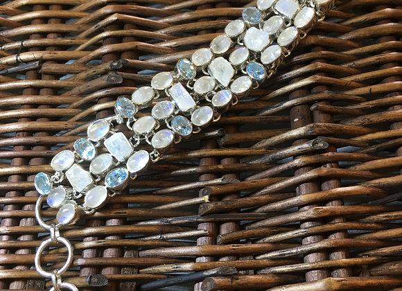 Moonstone & Blue Topaz Bracelet