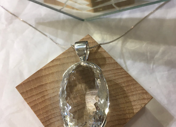 Cut Clear Quartz Pendant