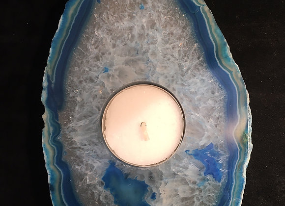 Blue Agate Oval Tea Light Holder