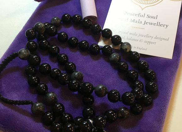 Nova - Black Onyx & Labradorite Mala Necklace