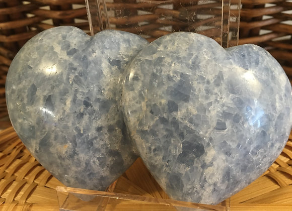 Blue Calcite Double Heart