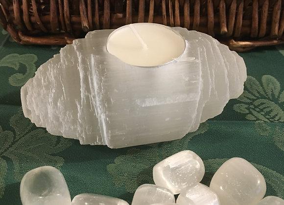 Selenite Log Tee Light Holder