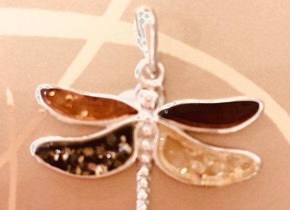 Multi Amber Dragonfly Pendant